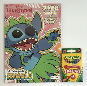 New 2pc Gift Set Lilo & Stitch Jumbo Coloring & Activity Book + Crayons Kids