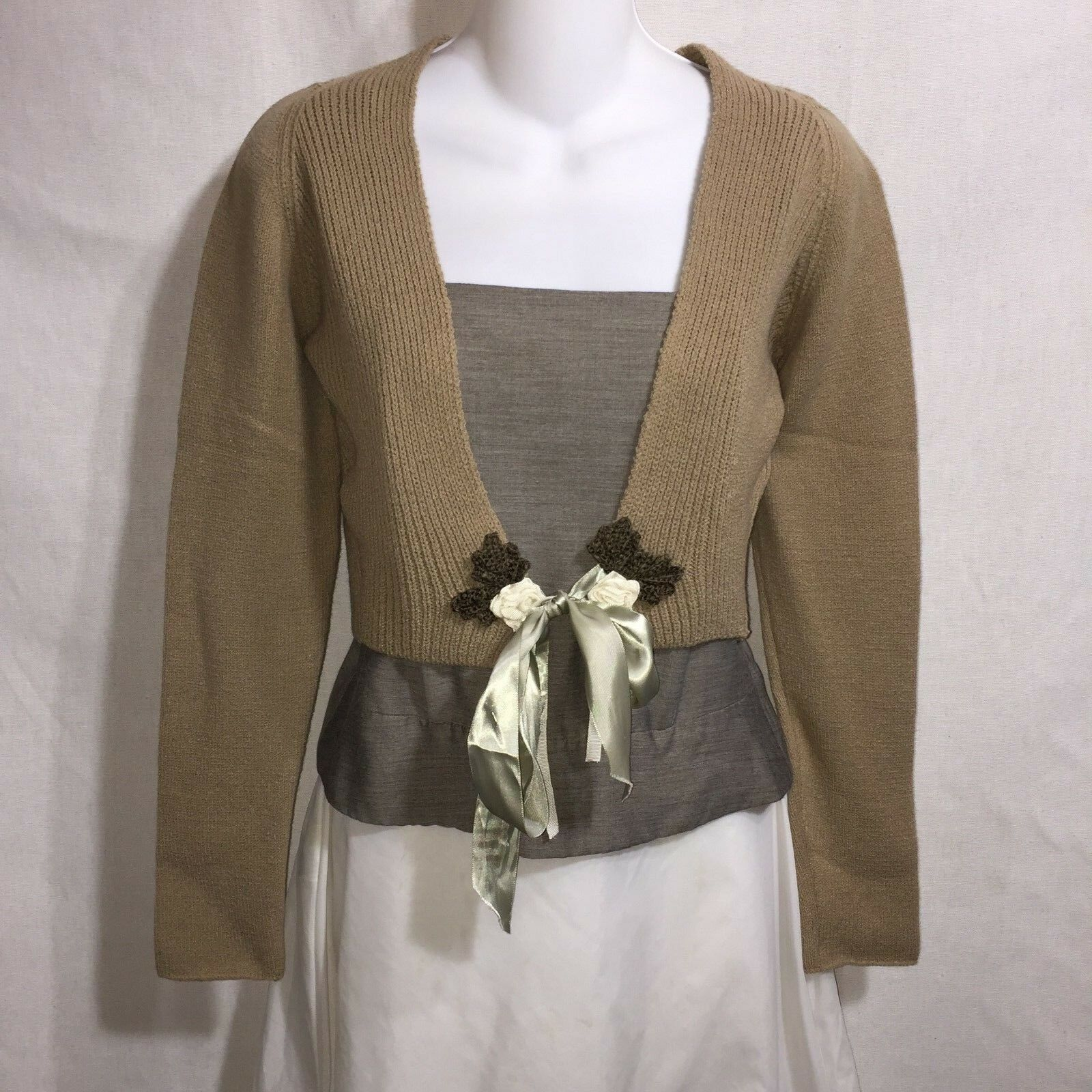 Neesh by DAR Flax J. Engelhart Soft Brown Cropped Tied Cardigan Sweater Shrug S