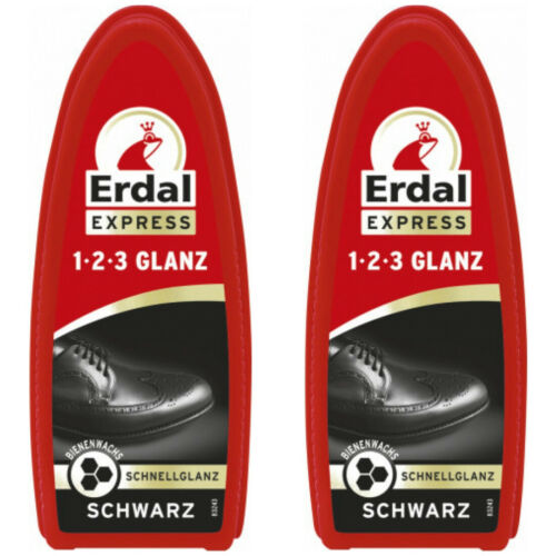 Erdal Chaussure éponge Chaussure soins Soins brillance 1-2-3 Brillance Noir 2 x M