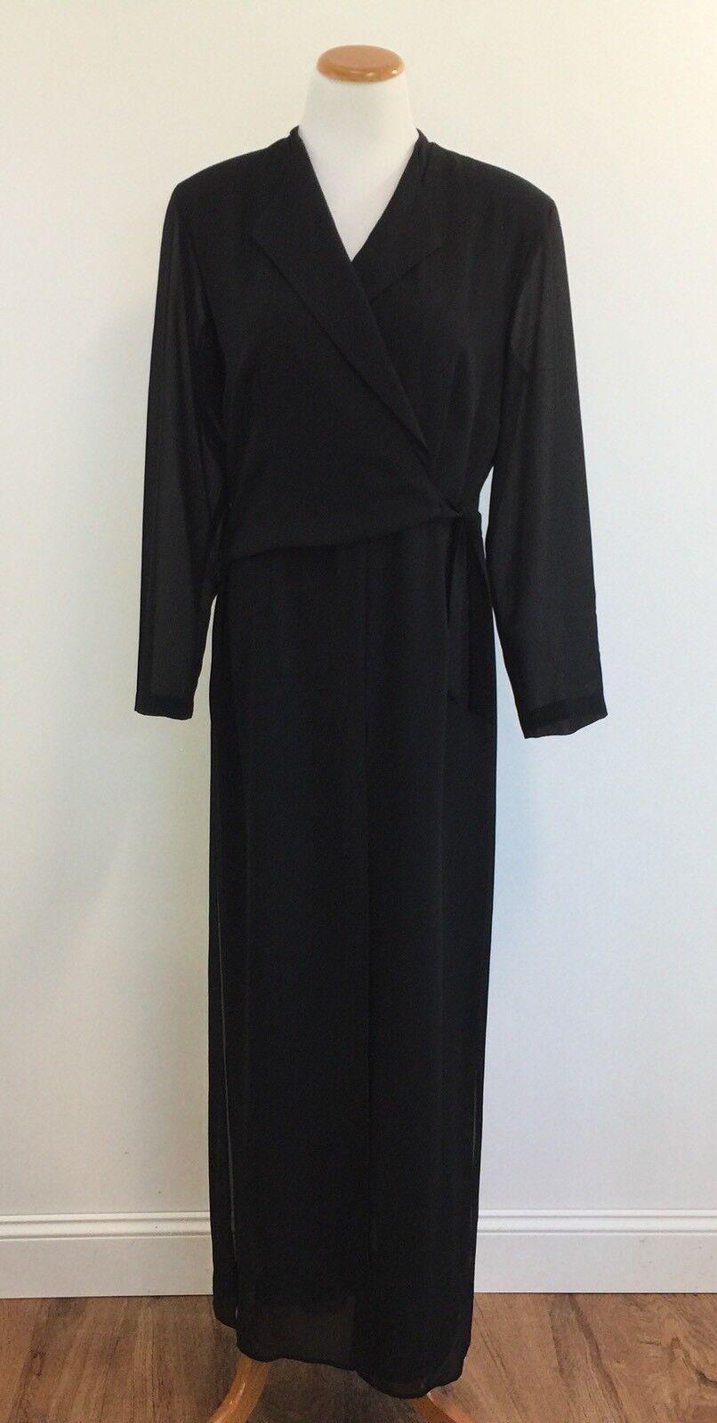 Vtg 90s Sheri Martin NY Sheer Double Layer Wrap Front Jumpsuit Women 14 Waist 32