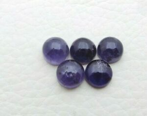 Natural Iolite Loose Gemstone 7 mm Round Cabochon Wholesale 5 Piece Lot S296