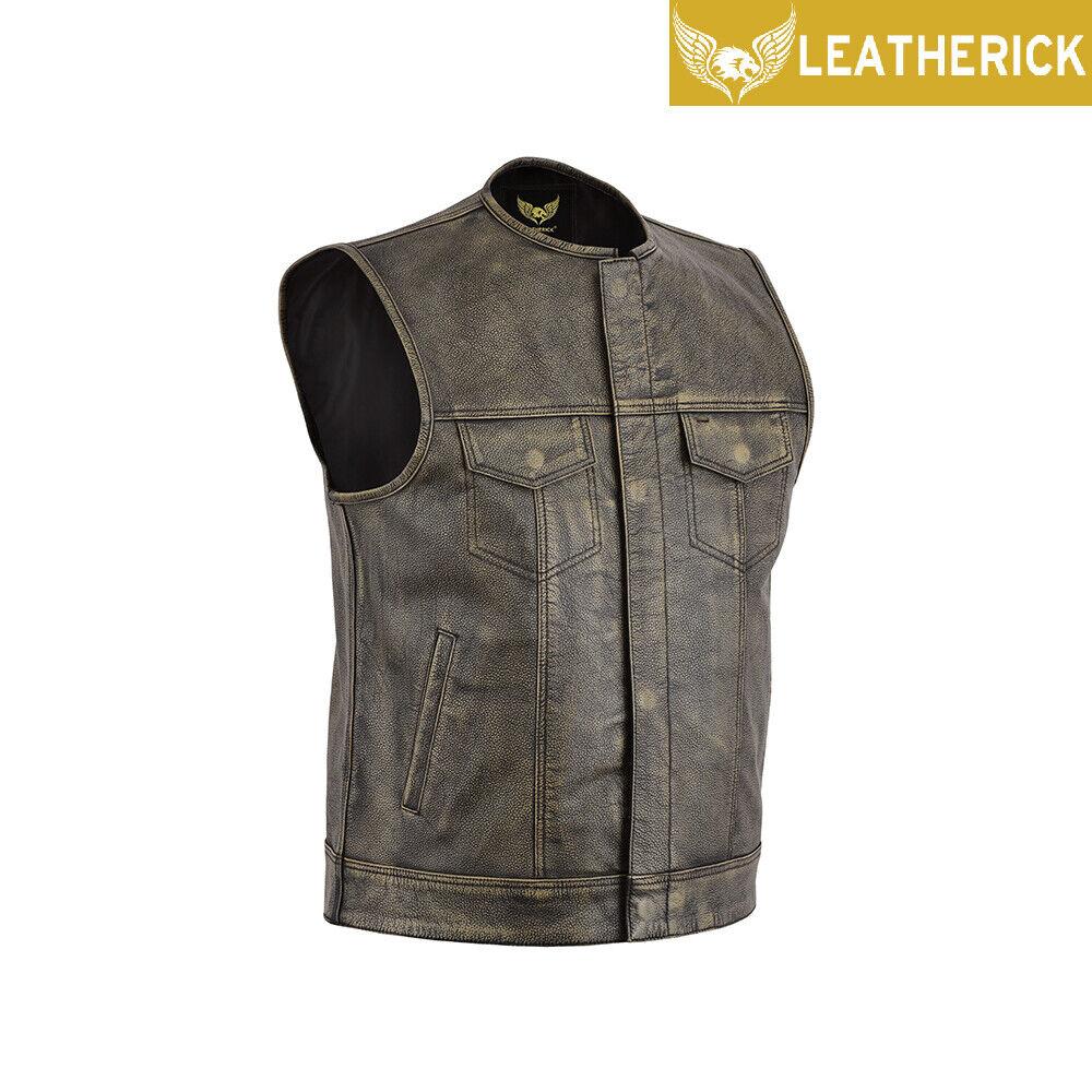 lederick Sons of Anarchy Distressed braun Vintage Biker leder Waistcoat Vest