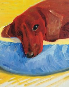 Dog-Painting-30-David-Hockney-print-in-11-x-14-mount-ready-to-frame-SUPERB