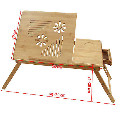 Laptop Table Portable Folding Desk Bed Tray 100% Bamboo Table (50x30cm)