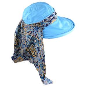 BLAE-Women-Summer-Sun-Cap-Hat-Neck-Face-Shawl-Wide-Brim-Travel-Visor-Anti-UV-Hat