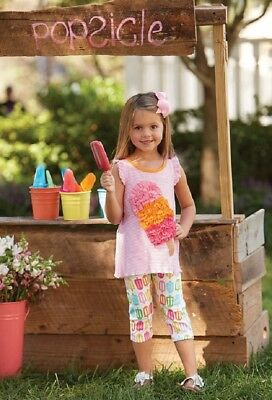 Mud Pie Summer Fun Ruffled Popsicle Tunic and Capri Legging Set