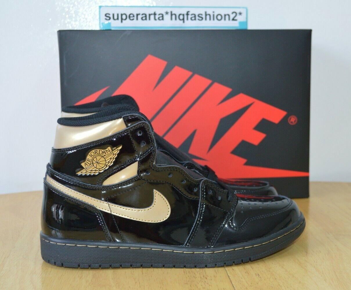 Nike Air Jordan 1 Retro High OG Black Metallic Gold Sneakers Size UK 8.5 EU 43