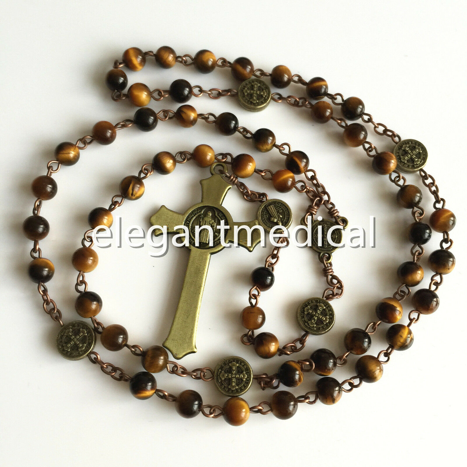 Catholic Crucifix Necklace: VINTAGE ST.BENEDICT Tiger Eye Beads ROSARY CROSS CRUCIFIX