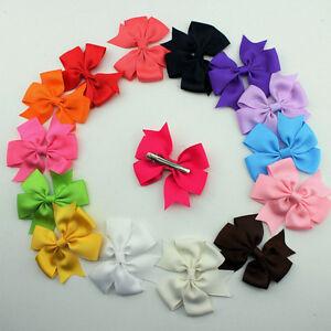 Cute-Baby-Girls-Boutique-Big-Bow-Grosgrain-Ribbon-Hairpin-Headwear-Hair-Clips-H