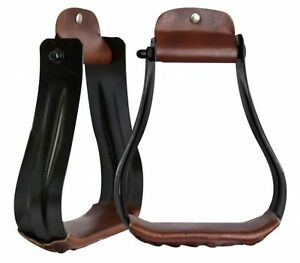 Western-Horse-Black-Steel-w-Leather-Tread-Wide-width-Western-Saddle-Stirrups
