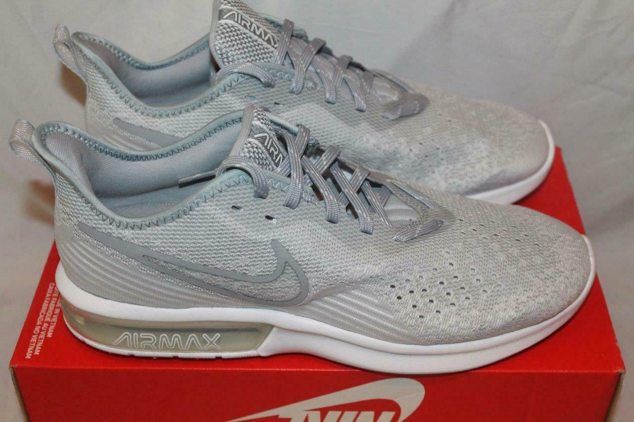 NEW NIKE MENS AIR MAX SEQUENT 4 RUNNING chaussures blanc gris AO4485-100 Taille 10.5