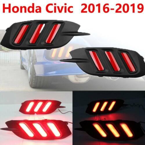 2X LED Tail Bumper Lamp Rear Fog Light For Honda Civic 2016-2019