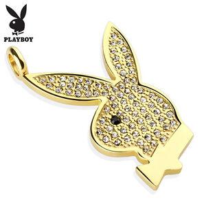 316l stainless steel gem set 175 playboy bunny pendant with cord la foto se est cargando 316l acero inoxidable gem set 1 75 034 aloadofball Image collections