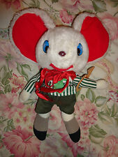 """Vintage GUND SAMMY White House Mouse 1976 Plush w Clothes 14"""" tall Red Ears Horn"""