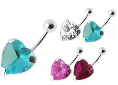 ♥♥♥ 925 plata 8-12mm vara piercing elección de color corazón ombligo ♥♥♥♥
