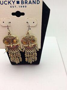 Image Is Loading 39 Lucky Brand Owl Gold Earrings 536