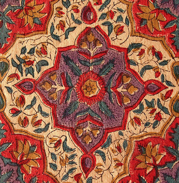 """Red French Reproduction Fabric. 2½ Yards, Hand Block Print Cotton. 44"""" Wide."""