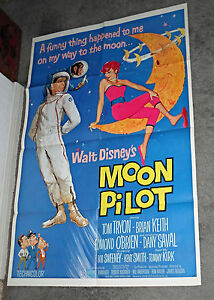 MOON PILOT original DISNEY 1962 one sheet movie poster TOM TRYON/DANY SAVAL