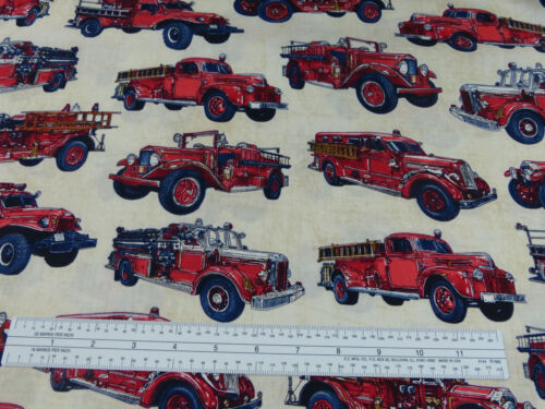 All Fired Up Fire Engines Fabric RJR Dan Morris 2013 Vintage Engines BTY