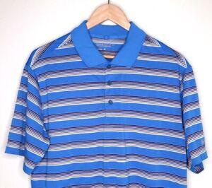 Nike-Golf-Dri-Fit-Mens-Tour-Performance-Blue-White-Stripe-Polo-Shirt-Logo-EUC-L