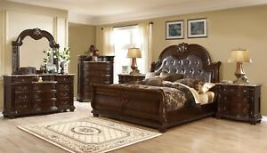 Details about Amber French Provincial Sleigh 4pc California King Bedroom  Set In Dark Cherry