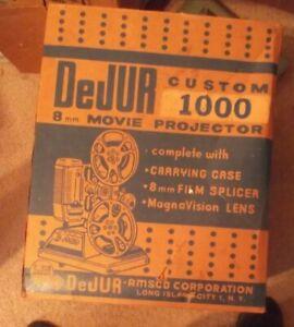 Vintage-8mm-Film-Projector-Dejur-Model-1000-Tested-w-Original-Case-Manual-amp-Box