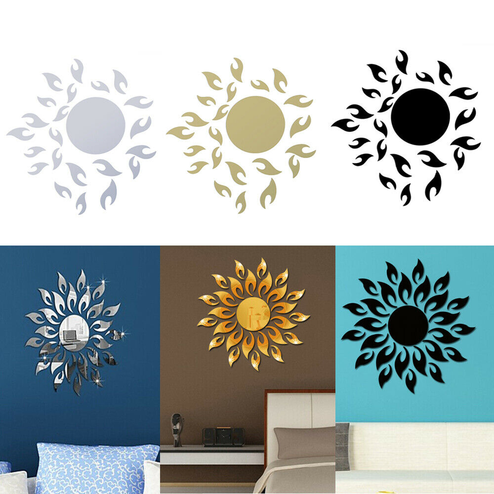 3D Mirror Sun Wall Sticker Art Removable Acrylic Mural Decal
