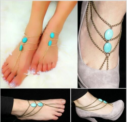 Boho Hippy Turquoise Barefoot Sandals Foot Jewellery Shoes Thongs Anklet Beach