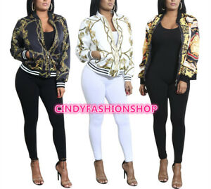 New Ladies  Fashion Long Sleeve Zipper Casual Baseball Print  Blazer Jackets