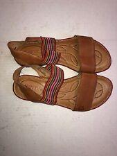 ec133c943617   BORN PARSON women s sandals leather stretch rainbow strap Size 7 M EUC