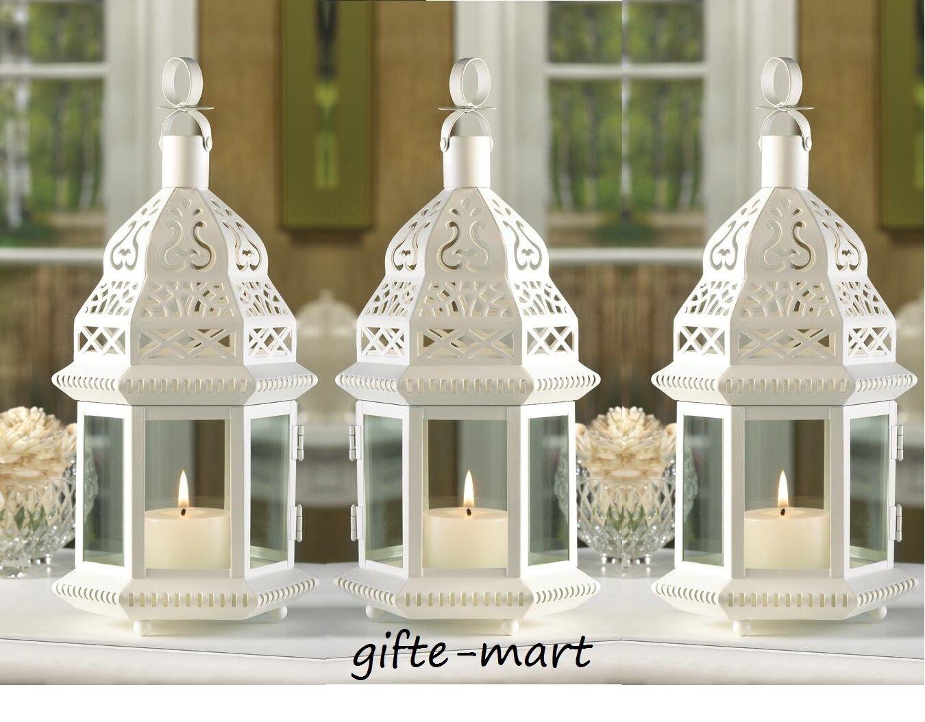 8 White Mgoldccan 12  shabby Candle holder lantern light wedding table decoration