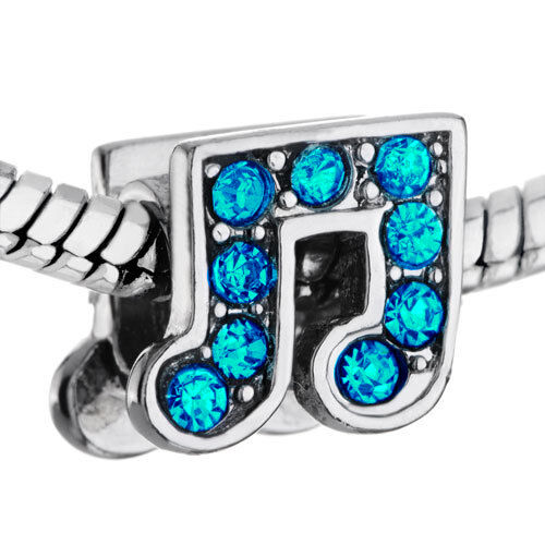 Blue Music Note Beamed Eighth December Birthstone Symbol Charm for Euro Bracelet