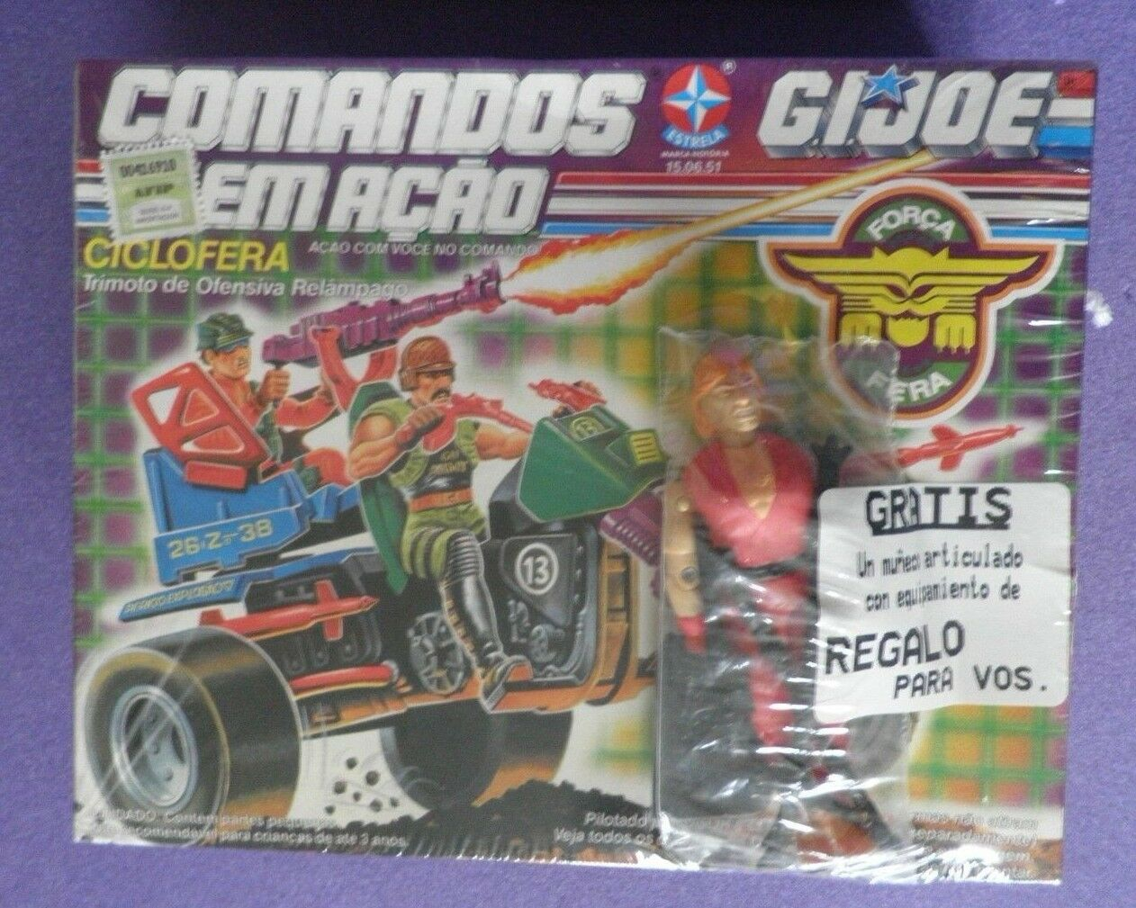 G.I.Joe - Comandos Emacao - Ciclofera + Ken Street Fighter Figure. 1993 F Sealed