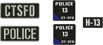 POLICE and CTSFO embroidery patches 3x8 hook on white