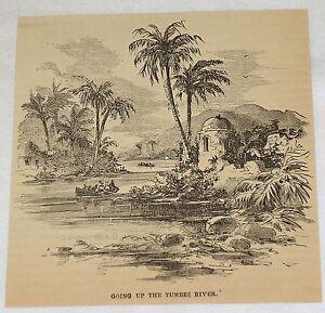 1859-magazine-engraving-GOING-UP-THE-TUMBEZ-RIVER-Peru-South-America