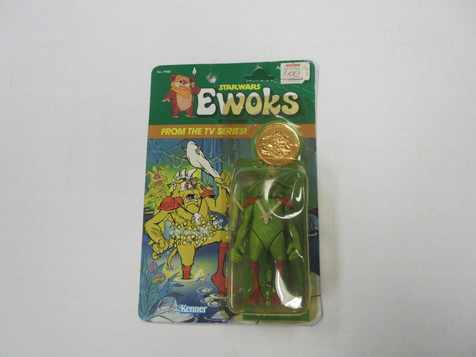 VINTAGE 1985 KENNER STAR WARS EWOKS KING GORNEESH FIGURE W  COIN SEALED RARE