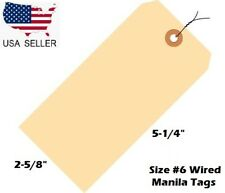 Pack Of 100 Size 6 Manila Inventory Shipping Hang Tags With Wire 5 14 X 2 58