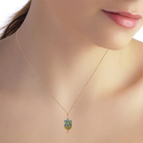 Genuine Blue Topaz /& Peridot Gemstones Flower Pendant Necklace in 14K Solid Gold