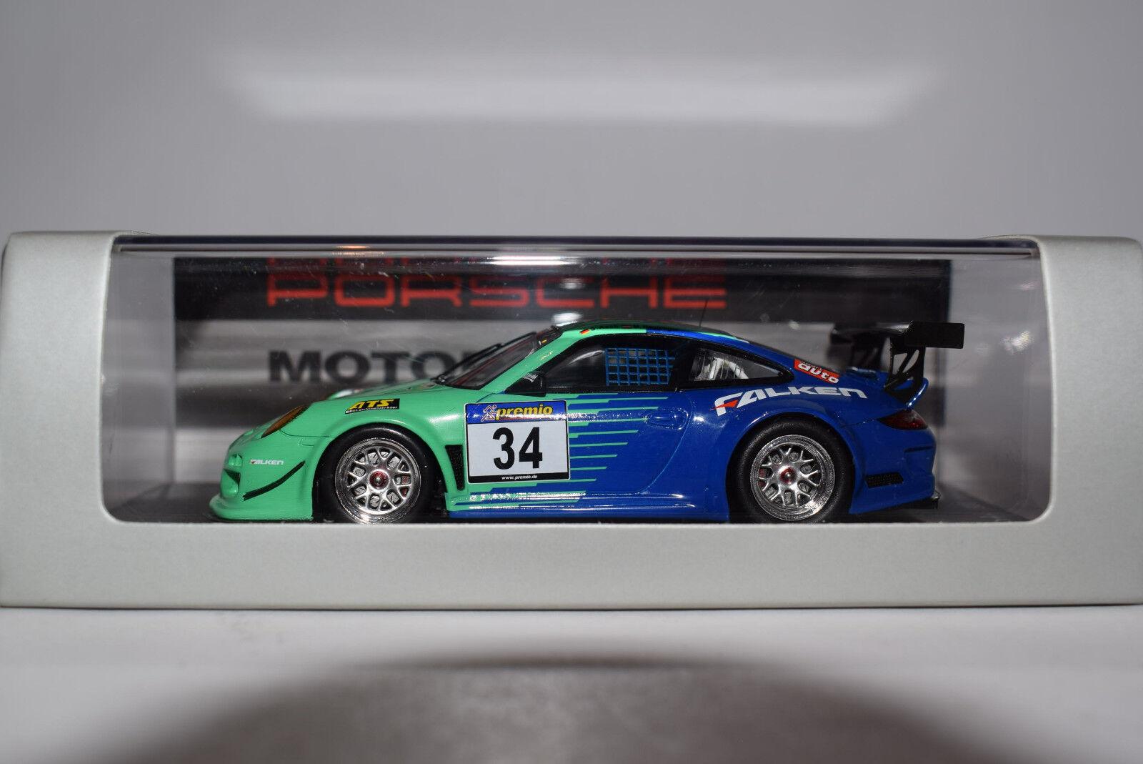 FAUCONS PORSCHE 911 (997) gt3 R droife Nurburgring 2011 # 34 Spark 1:43 neuf dans sa boîte | Sale