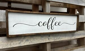 FARMHOUSE-wood-sign-COFFEE-kitchen-rustic-wooden-welcome-laundry-large-country