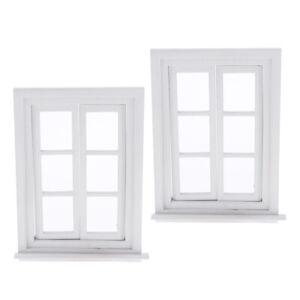 2 lot 1//12 White Window Frames Dolls House Decoration Children Toys Play Set