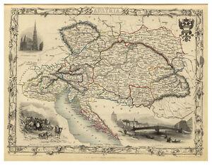 Austria-Hungary-Bohemia-Balkans-illustrated-map-John-Tallis-ca-1851