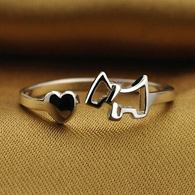 Super cute silver tone heart and puppy dog open ring, UK Size M
