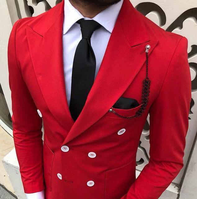 Designer Geschäft Zweireiher Rot Herrenanzug Doppelreiher Tailliert Slim Fit 50