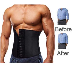 US-Men-Waist-Trainer-Cincher-Body-Fajas-Corset-Sport-Body-Shaper-Slimming-Belt