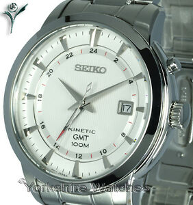 New seiko kinetic gmt white face dual time stainless steel bracelet sun029p1 643989708002 ebay for Movado kinetic