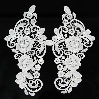 1pc DIY Polyester Flower Motif Embroidered Lace Bride Dress Sewing Lace Trims