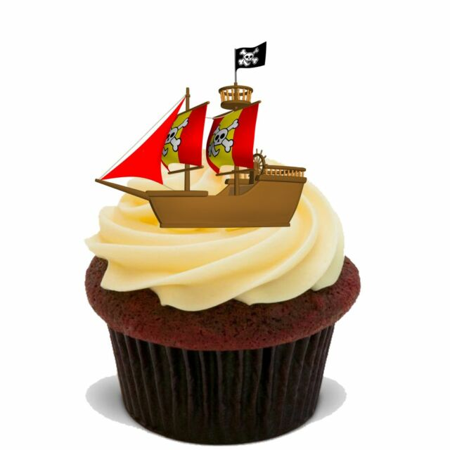Pirate Ship 20x Flat Stand up Premium Rice Card Edible Cake Toppers ...