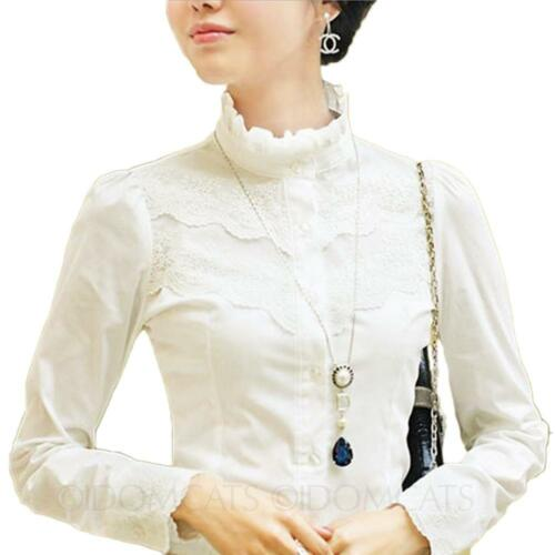 Womens Lace blouse Sheer Victorian T Shirt Elegant long sleeve Cotton Top Size