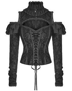 Punk-Rave-Blusa-Top-Mujer-Negro-Corse-Gotico-Steampunk-Vintage-Victoriano